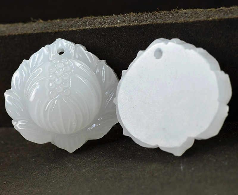 Yanting naturel Afghanistan blanc lotus pendentif en herbe fleur pendentifs suet grade pierre pendentif breloques bricolage accessoires 0114