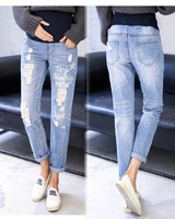 2018 Fashion Autumn Straight Jeans Painted Pregnant Trousers Ripped Holes Pregnancy Jeans Belly Pants Maternity Overalls