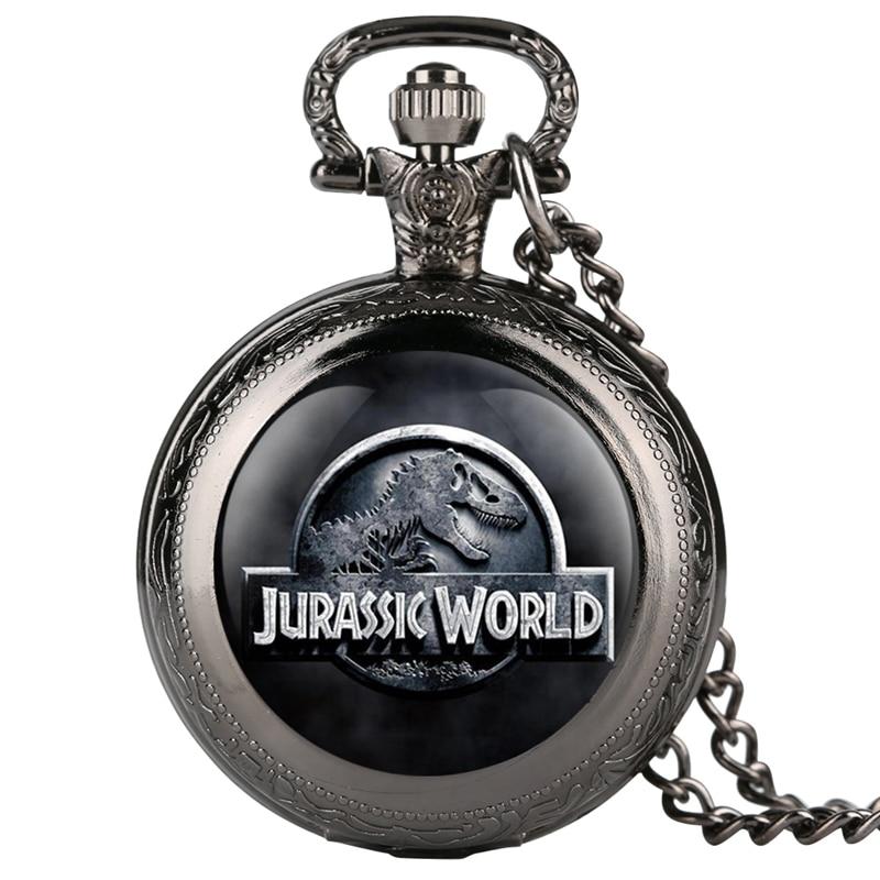 Jurassic World 2 Dinosaur Building Blocks Quartz Pocket Watch Necklace Jurassic Dinosaur Figure Bricks Tyrannosaurus Rex Pendant