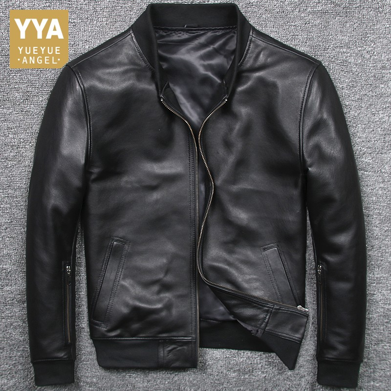A1827 Read Description Asian size men s sheep leather jacket mens genuine sheep leather vintage embroidery