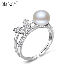 Fashion 100% Genuine Natural Freshwater 7-8mm white Pearl Rings 925 sterling silver Butterfly Double layer for Women Gifts