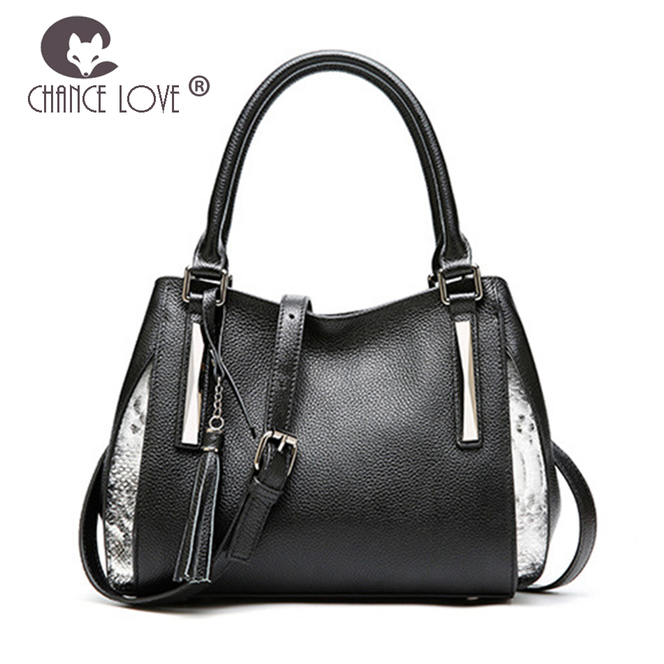 Chance Love 2018 new female Genuine leather handbag ladies fashion Black side silver match tassel shoulder bag women handbags chance love bag female women 100