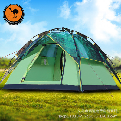 The new camel 3-4 double layer automatic tents outdoor equipment camping tent mobi outdoor camping equipment hiking waterproof tents high quality wigwam double layer big camping tent
