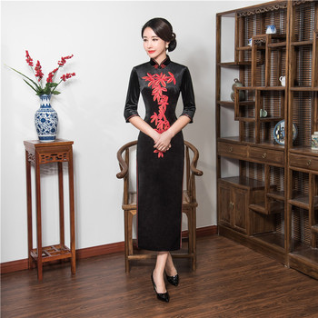 Shanghai Story Chinese Style Dress Velvet Long Qipao Chinese traditional dress 3/4 Sleeve cheongsam Autumn Embroidery Qipao