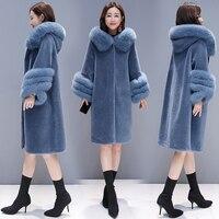 HANZANGL High quality 2018 Winter Wool Coat Women's Faux Fur Coat Fox Fur Hooded Warm Cashmere Jacket Overcoat Plus size S 3XL