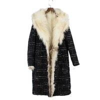 2018 new knitted woollen women real raccoon fur long coat genuine fur inside slim fashion femle outwear winter warm jacket parka