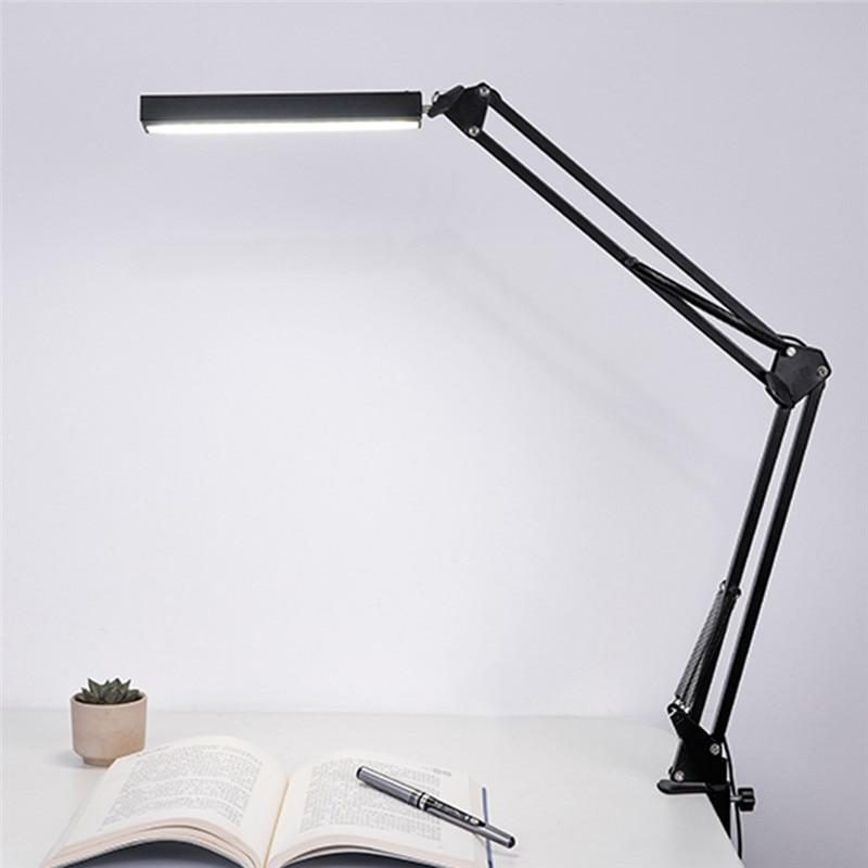 HUANJUNSHI LED Desk Lamp Long Arm Clip On Light Office