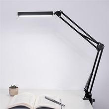 HUANJUNSHI LED Desk Lamp Long Arm Clip-On Light Office Lamp Touch Flexible Table Lamp Students Reading Led Light