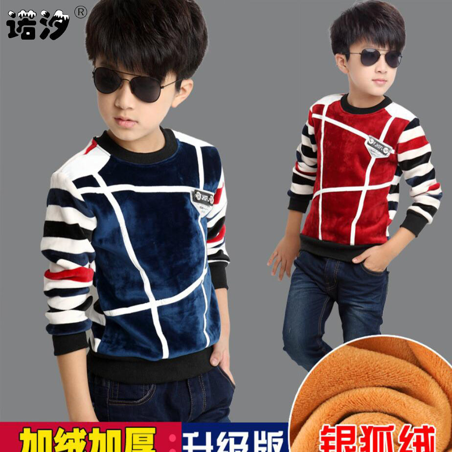 T-Shirt Kids Long-Sleeve Boys Winter Children Velvet Warm Plush O-Neck Spring Outwear