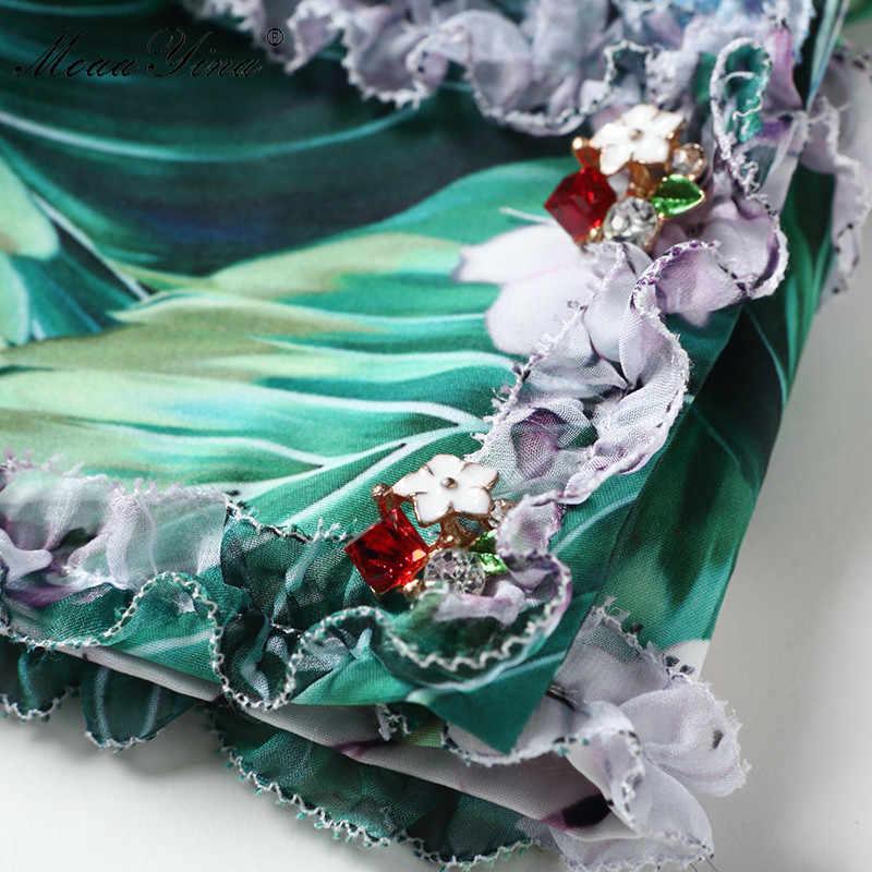 MoaaYina Подиум летнее платье женская с короткими рукавами V образным вырезом Сексуальная Русалка зеленая Гортензия цветочный принт оборки повседневное миди платье