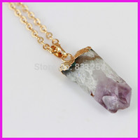 1pc Lot Natural Amethyst Crystal Long Gem Stone Charm Pendant Free Form 22K Gold Plated No
