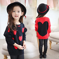 2016 New Children Sweater Heart Design Girls Batwing Sleeves Knitted Sweater 3-8Years Old Baby Knitting Clothing