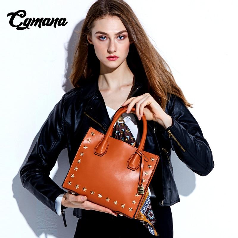 Women Genuine Leather Handbag 2018 New Female Rivets Genuine Leather Handbags Pentacle Stars mercer Hand Bills of Shoulder Bag цена