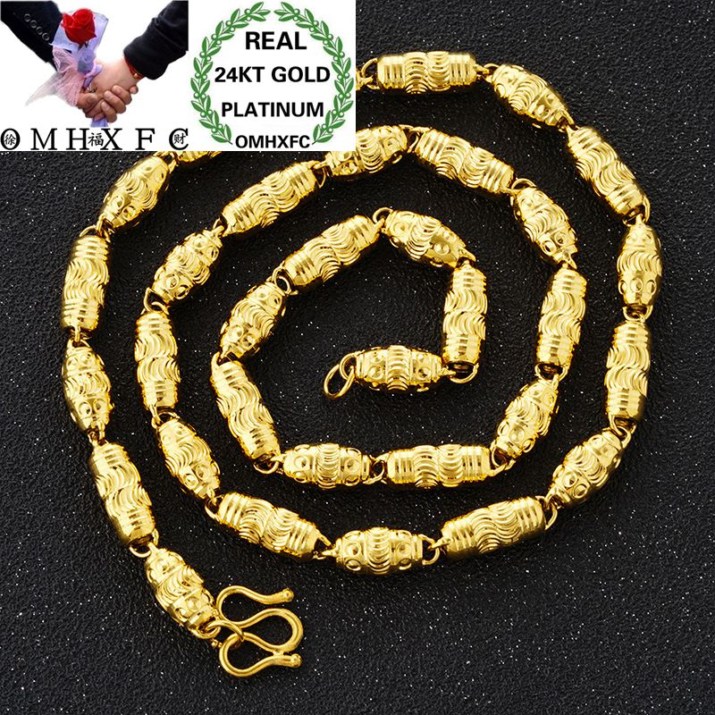 OMHXFC Wholesale European Fashion Man Male Party Wedding Gift Long 50cm Solid Beads Cylinder  Real 24KT Gold Chain Necklace NL34OMHXFC Wholesale European Fashion Man Male Party Wedding Gift Long 50cm Solid Beads Cylinder  Real 24KT Gold Chain Necklace NL34