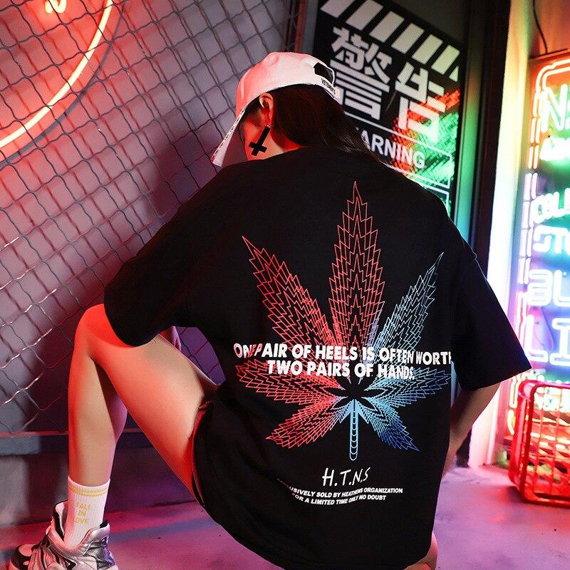 S-3XL coton doux Hip Hop t-shirt court hommes femmes t-shirts mode couleur feuille été Streetwear surdimensionné Swag 2019 Couples hauts