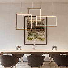 NEO GLeam White or Brown Color Rectangle Chandelier For Living Room Dining Shop Dimmable Modern Led Hanging Chandeliers