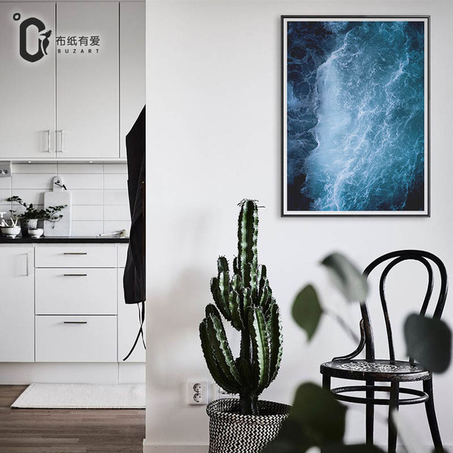 buzart cyan and blue sea art canvas art paintings for living room wall poster hd print - Cyan Living Room Decor