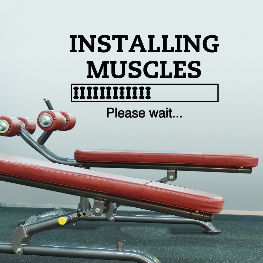 Sports Installing Muscles Please Wait Wall Art Sticker Decal Home DIY Decoration Decor Wall Mural Removable Room Decal