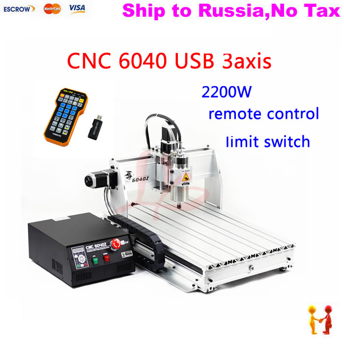 (NO TAX TO Russia) NEW high quality high power 2200KW CNC machine 6040 3axis with mach3 remote control + Ball screw+USB port no tax to russia 4axis cnc metal engraving machine 8060 rotary axis 2 2kw spindle ball screw wtih mach3 remote control