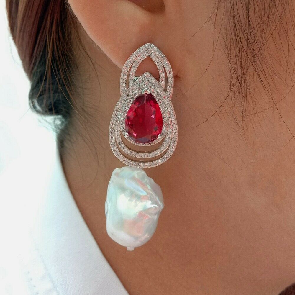 Cultured White Keshi Pearl Red Cz Rhinestone Earrings