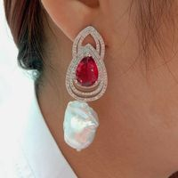 Cultured White Keshi Pearl Red Cz Rhinestone Earrings