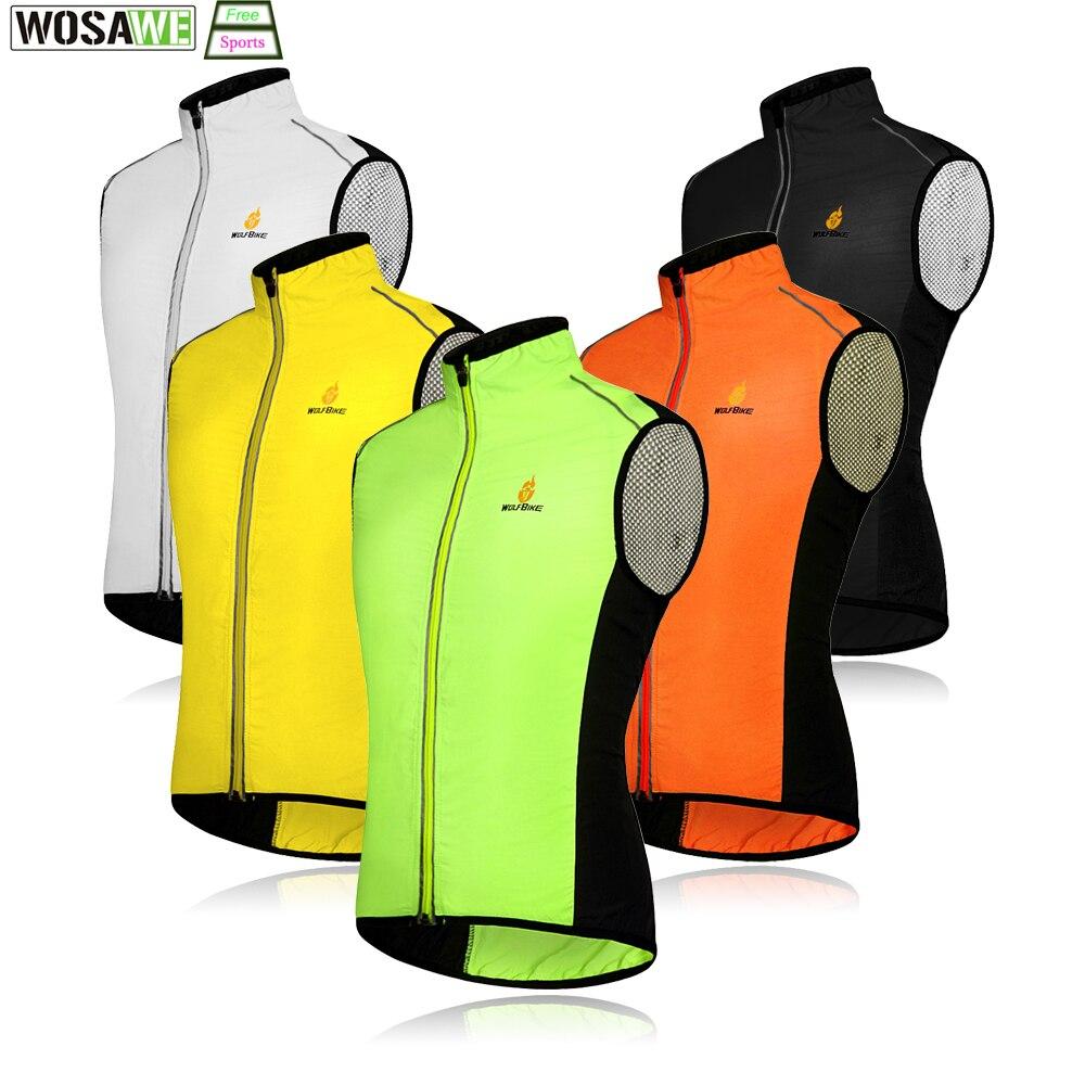 WOSAWE Windproof Cycling Sleeveless Vest Bicycle Jerseys Wind Coat Waterproof Bike Reflective Vest Men Women Sports Outwear