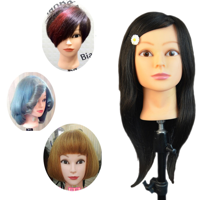 100 Human Hair Training Mannequin Head For Hairdressers 18 Virgin Manikin With