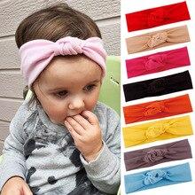 Купить с кэшбэком Baby Toddler Cute Girls Bow Hairband Turban Knot Rabbit Headband Headwear Baby Girl Hair Clip Bow Color for The Head