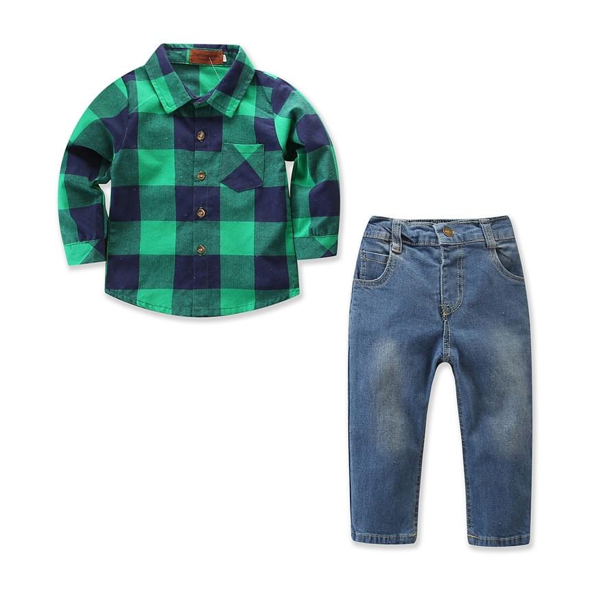 New Kids Boys Clothing Sets 2pcs Cotton Long Sleeve Shirts+Denim Jumpsuits Pants