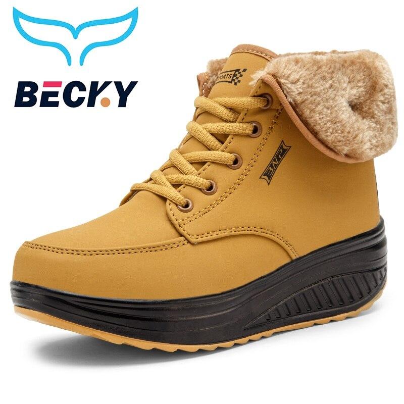 Las mujeres zapatos de invierno plataforma inferior grueso piel caliente zapatillas de deporte casuales zapatos de nieve impermeable 5,5 cm talón invierno deporte