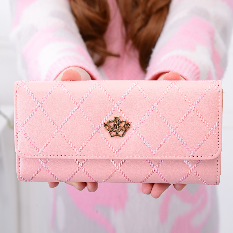Royal Crown Women Wallet Leather Female Wallet Long Coin Purse Girl Rhombus Thread Purse Trifold Card Holder Multifunction Bag english explorer 4 interactive whiteboard software cd rom x1