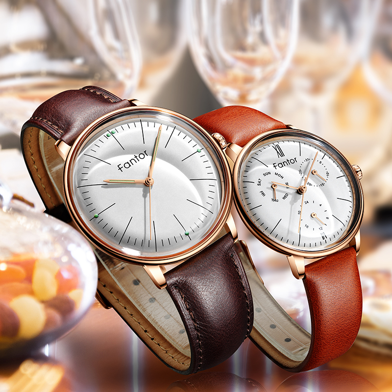 Fantor Top Brand Fashion Luxury Pair Watch Quality Leather Quartz Watch For Lovers Man Woman Couple Watches Gift Set With Box