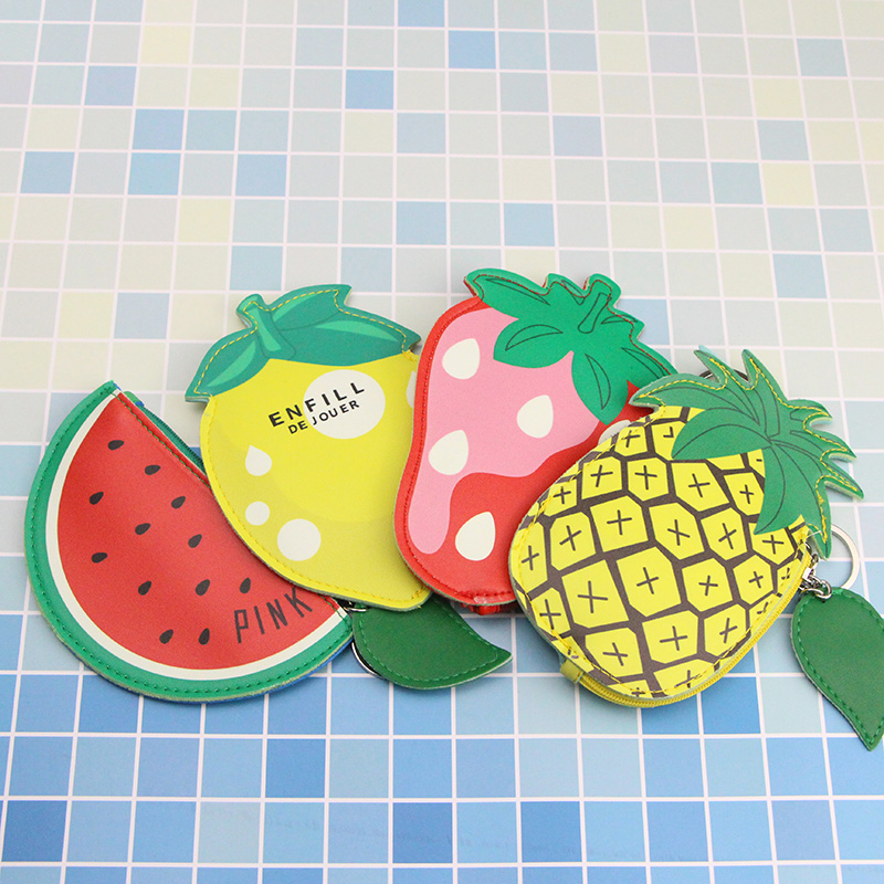 Katuner Hot Cute Fruit Coin Purse PU Leather Pineapple Lemon Purse Women Mini Wallet Girls Zipper Pouch Girls Card Holder KB037