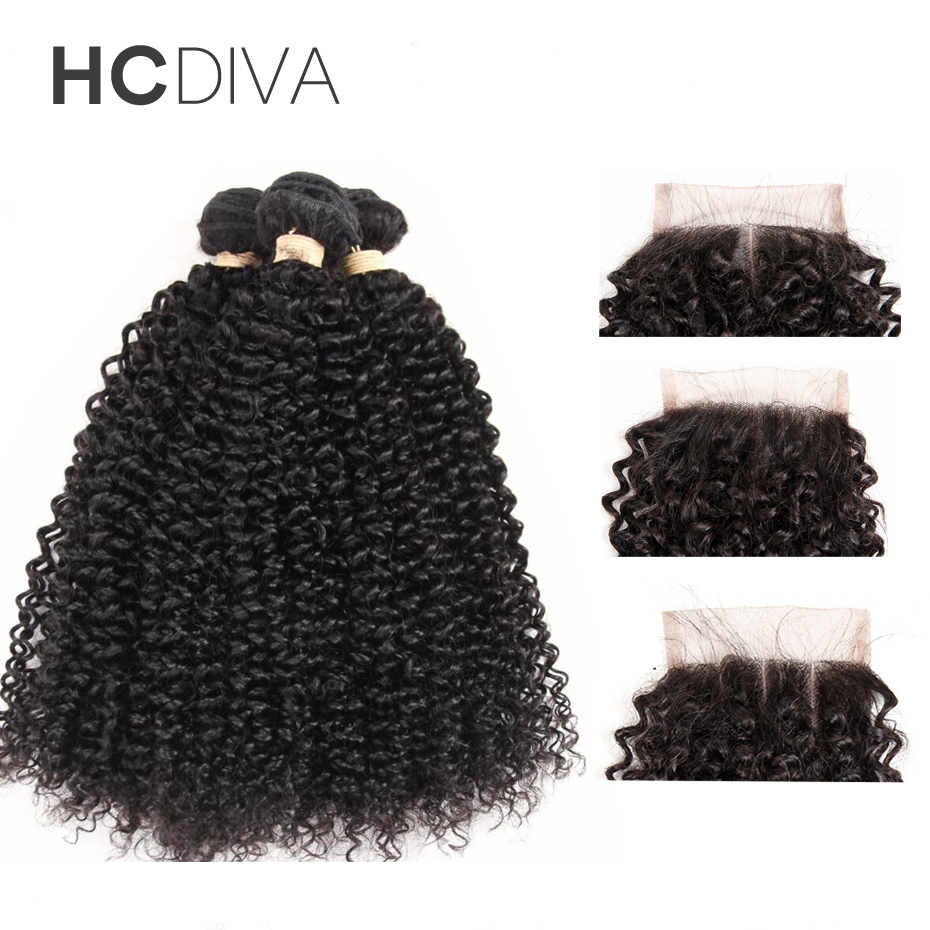 HCDIVA Products Peruvian Kinky Curly Weave Human Hair Bundles With Lace Closure Non Remy 100% Human Hair 3 Bundles With Closure