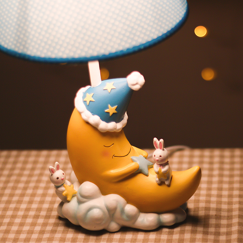 Lovely Animals and Sleeping Moon Cartoon Cute Children Room Desktop Night Lights Kids Table Lamp As