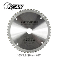 XCAN HSS TCT circluar saw blade 165*1.8*20mm for cut wood /steel/plastic 48T Multipurpose wood saw blade