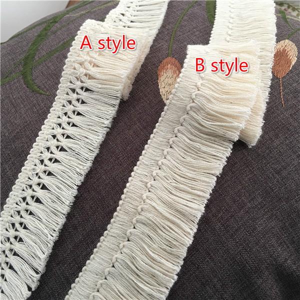 10Yard/Lot 4CM Cotton Beige Lace Trim Tassel Fringe Accessories Clothing Curtain Table Sweater DIY Decorative