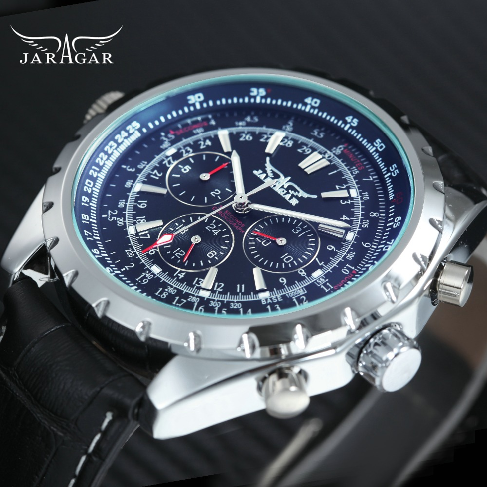 JARAGAR Auto Mechanical Watches for Men Blue Mirror Design Working Small Sub-dials Top Brand Luxury Leather Strap Sport Watches купить в Москве 2019