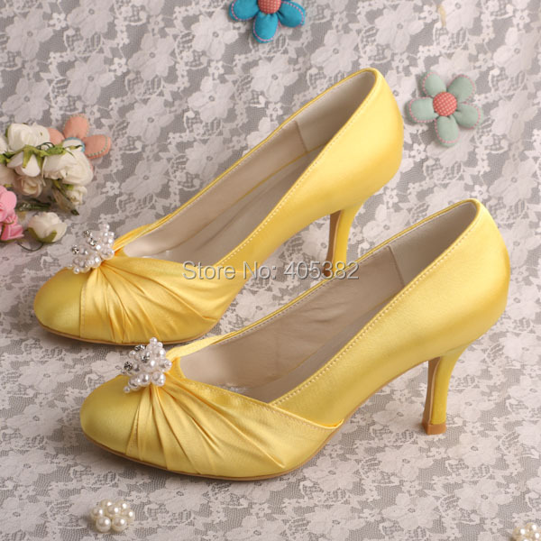 wedopus mw406 thin heel wedding yellow shoes 8cm pearl decoration dropshipping