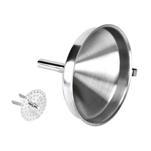 Hot Durable Honey Stainless Steel Kitchen Funnel with Removable Strainer / Canned Filter Removable Liquid Funnel Kitchen Tools(China)