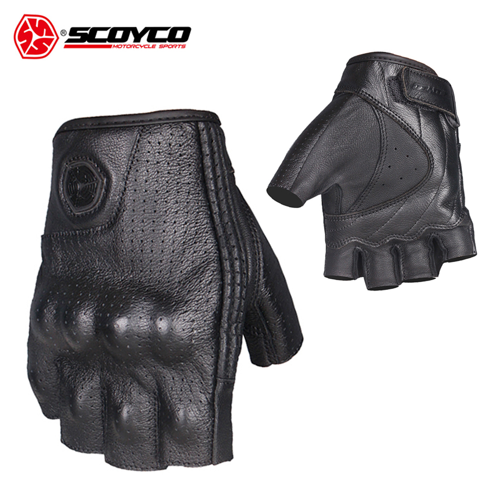 SCOYCO Motorcycle Gloves Moto Gloves Motocross Racing Gloves Leather Motorcycle Riding Half Finger Gloves Luva Couro Motoqueiro-in Gloves from Automobiles & Motorcycles    3