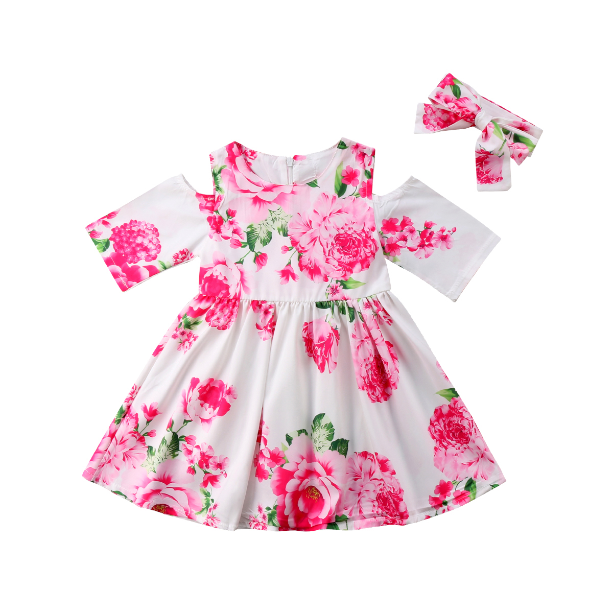 Toddler Kids Baby Girls Dress Cold Shoulder Summer Short Sleeve Floral Party Pageant Dresses Girl Clothing Sundress Clothes faber orizzonte eg8 x a 60 active