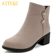 AIYUQI Women booties 2019 autumn and winter new genuine leather women suede Martin boots, big size 35-43 single shoes