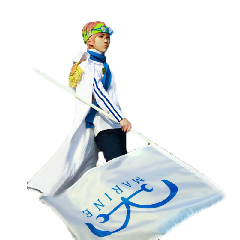 One Piece Coby Navy Justice Cloak Suit Cosplay Costume With Head Piece And Glasses