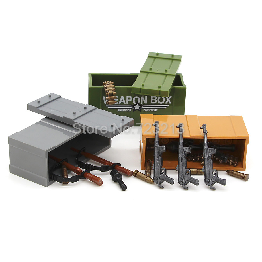 Single Sale Weapon Gun Box for Military Figure Set Parts MOC Accessories SWAT Model Building Blocks Brick Kits Toys kazi 228pcs military ship model building blocks kids toys imitation gun weapon equipment technic designer toys for kid