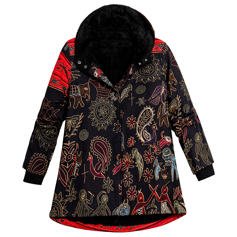 2019 Winter Coat Plus Size Jacket Women Hooded Ethnic Print Thick Fleece Warm   Parka   Coat Vintage Long Outerwear Overcoat Black