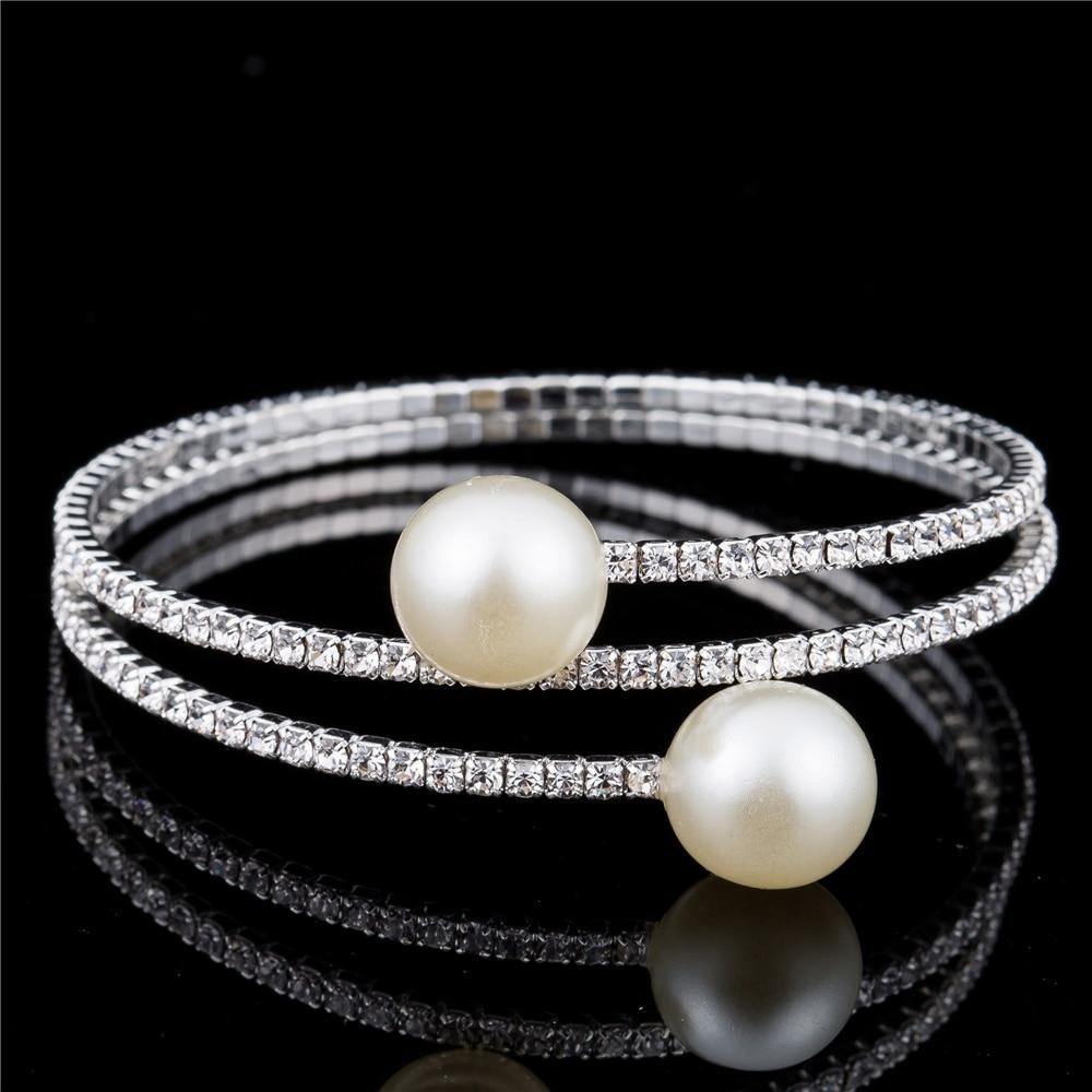 HOCOLE New Wedding Bridal Bracelet Bangle Multi-layer Rhinestone Crystal Simulated Pearl Bangle Bracelet For Women Jewelry