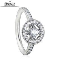 SHEALIA Allure AAA CZ Del Diamante de La Vendimia Geométrica Anillos de Compromiso Anillo de Bodas de Plata de Ley 925 Anillos Para Las Mujeres Joyería Fina
