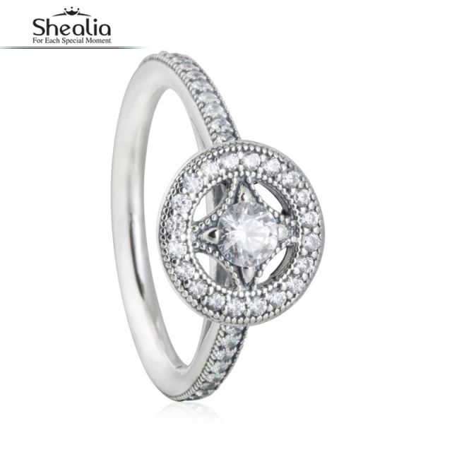 SHEALIA AAA CZ Diamond Vintage Allure Geometric Rings 925 Sterling  Silver Wedding Band Engagement Rings For Women Fine Jewelry