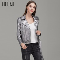 FATIKA 2017 Autumn Winter Fashion 7 Colors Women Faux Leather Jacket And Coat Flying Motorcycle Bomber